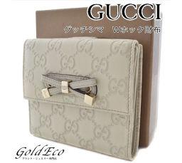 【美品】GUCCI【グッチ】 グッチシマ Wホック 二つ折り財布 【中古】 167465 レザー リボン アイボリー ゴールド金具