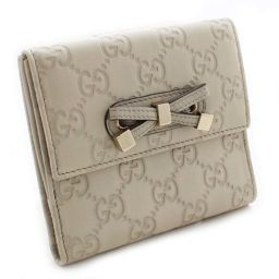GUCCI Gucci Guccisima W hook 167465 Two-folded wallet leather ivory gold metal fittings women [pre]