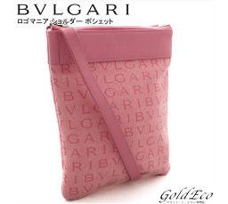 BVLGARI 【ブルガリ】ロゴマニア ポシェットミニ ショルダーバッグ斜めがけ ピンク ロゴキャンバス レザーレディース