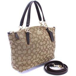 COACH Coach Signature Small Kelsey Satchel 2WAY F36625 Handbag Canvas / Leather Beige Dark Brown Women [Pre]