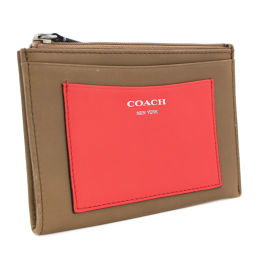 COACH Coach Accessory Card Case Coin Case Leather Multicolor Brown Ladies [Pre]
