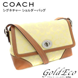 COACH [Coach] Signature Shoulder Bag Yellow Brown F13066 Canvas Leather [Used] Bag