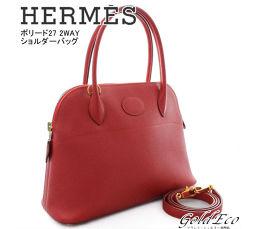 HERMES [Hermes] Boreed 27 2WAY handbag shoulder bag shoulder bag ○ W engraved red red gold clasp Kush Bell