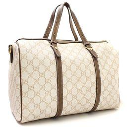 GUCCI Gucci GG Supreme 322331 Boston Bag GG Plus / PVC / Leather White Brown Unisex [pre-owned]