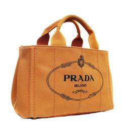 PRADA プラダ カナパ ミニ BN2439 トートバッグ キャンバス オレンジ PAPAYA レディース【中古】