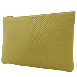 CHANEL Chanel V Stitch Chevron Line Clutch Bag Lambskin Yellow Women [Pre]