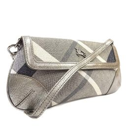 BURBERRY Burberry Accessory Pouch Shoulder Bag Canvas / Leather Silver Gray Women [Pre]