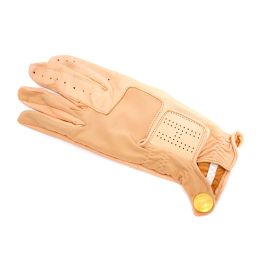 HERMES HERMES Golf Gloves Serie Button Gloves Lambskin Pink Beige Women [Pre]