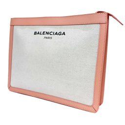 BALENCIAGA バレンシアガ 410119 クラッチバッグ キャンバス/レザー ナチュラル ピンク ユニセックス【中古】