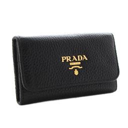 PRADA プラダ 6連 ロゴ 1PG222 キーケース レザー NERO ブラック ユニセックス【中古】