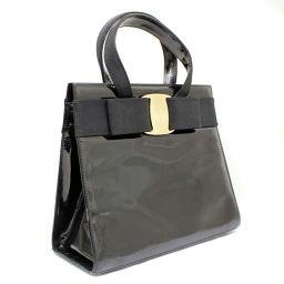 Salvatore Ferragamo Salvatore Ferragamo Vala Ribbon Enamel BA214178 Handbag Patent Leather Black / Gold Hardware Women's [Pre]