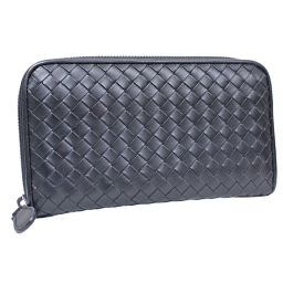 BOTTEGAVENETA Bottega Veneta round fastener Inlet chart 114076 Long wallet leather black unisex [pre]
