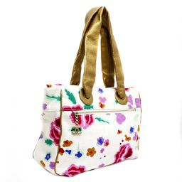 CHANEL Chanel Camellia Flower Pattern Coco Mark Shoulder A25388 Tote Bag Canvas / Leather Ivory / Multicolor Women [Pre]