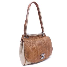 CHANEL Chanel Cocomark shoulder bag Python / canvas brown beige women [pre]