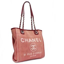 CHANEL CHANEL Deauville PM Chain Shoulder Bag A66939 Tote Bag Canvas / Leather Red Women [Pre]