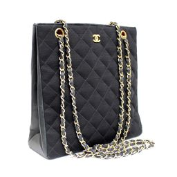 CHANEL Chanel Matrasse Cotton Chain Tote Shoulder Bag Canvas Black / Gold Hardware Women [Pre]