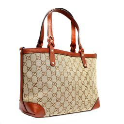 GUCCI Gucci Lame thread with pouch 269878 Tote bag GG canvas / leather brown women [pre-owned]