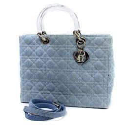 Christian Dior クリスチャンディオール レディディオール カナージュ ハンドバッグ デニム/プラスチック ブルー レディース【中古】