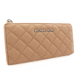 Michael Kors Michael Kors Round Fastener Quilted Purse Leather Light Beige Women [Used]