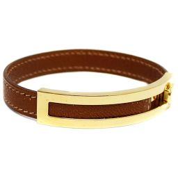 HERMES Hermes Pusupusu Armband □ F stamped Banguru Leather / metal accessories Brown / gold metal fittings Unisex [pre]