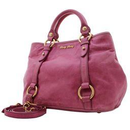 MIUMIU Miu Miu 2WAY Handbag Leather Pink Ladies [Pre]