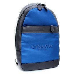 COACH コーチ チャールズパック F59320 ボディバッグ ナイロン/レザー ブルー ブラック メンズ【中古】