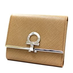 Salvatore Ferragamo Salvatore Ferragamo Gancini JL-22 4628 Tri-fold wallet leather beige women [pre]