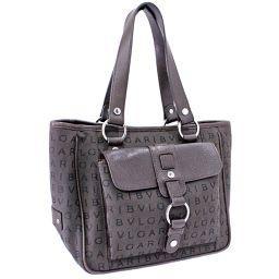 BVLGARI Bulgari Logomania Handbag Canvas / Leather Dark Brown Women [Pre]