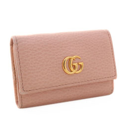 GUCCI Gucci 6-Reg logo Petit Marmont 456118 Key Case Leather Baby Pink Women [Pre]