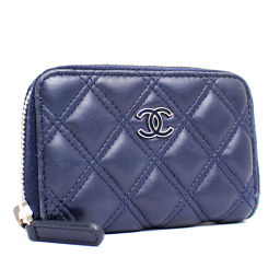 CHANEL Chanel coin case Cocomark Matrasse A82130 card case lambskin navy ladies [pre-owned]