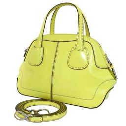 TOD'S Tod's 2way shoulder bag handbag leather yellow ladies [pre-owned]