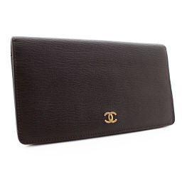 CHANEL Chanel Folded Coco Mark Long Wallet Leather Brown Ladies [Pre]