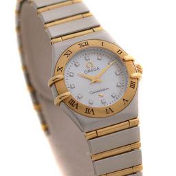 OMEGA オメガ コンステレーション 12P ダイヤモンド 6553/865 腕時計 ホワイトシェル文字盤 クオーツ シルバー ゴールド レディース【中古】