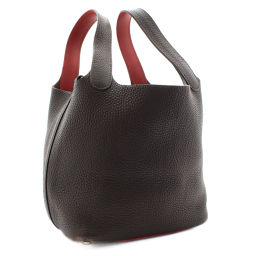 HERMES Hermes Picotan PM □ J engraved handbags Tryon Clemence / Leather Dark Brown Red Ladies [pre-owned]