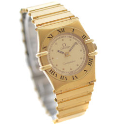 OMEGA オメガ コンステレーション 腕時計 ゴールド文字盤 クオーツ ゴールド シルバー レディース【中古】