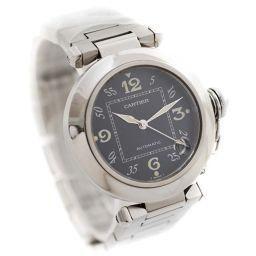 CARTIER カルティエ パシャC ボーイズ  W31076M7 腕時計 ブラック文字盤 自動巻き シルバー メンズ【中古】