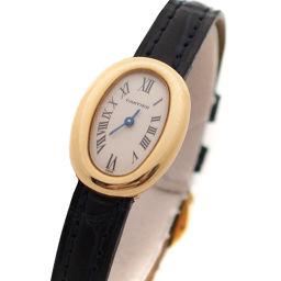 CARTIER カルティエ ミニベニュワール 金無垢 W1510956 腕時計 ホワイト文字盤 クオーツ イエローゴールド ブラック レディース【中古】