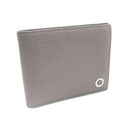 BVLGARI ブルガリ ロゴ 二つ折り財布 レザー グレー レディース【中古】