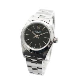 ROLEX ロレックス オイスター パーペチュアル 76080 Y番 腕時計 ブラック文字盤 自動巻き シルバー レディース【中古】