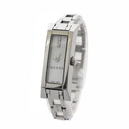 GUCCI グッチ Gリンク 3ポイントダイヤ 110 腕時計 ホワイト文字盤 クオーツ シルバー レディース【中古】