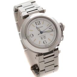 CARTIER カルティエ パシャC ビッグデイト W31044M7  腕時計 ホワイト文字盤 自動巻き シルバー メンズ【中古】