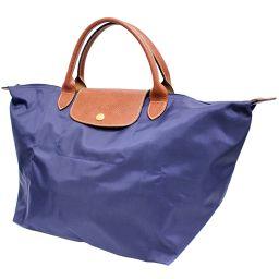 Longchamp ロンシャン プリアージュ ハンドバッグ ナイロン/レザー ネイビー ブラウン ユニセックス【中古】