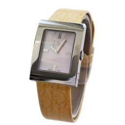 Christian Dior クリスチャンディオール マリス D78-109 腕時計 ピンクシェル文字盤 クオーツ シルバー イエロー レディース【中古】