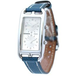HERMES エルメス ケープコッド ドゥゾーン CC3-210 腕時計 シルバー文字盤 クオーツ シルバー ブルー レディース【中古】