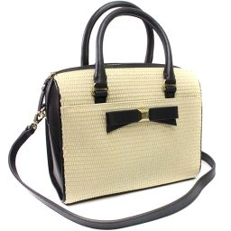 Kate Spade Kate Spade 2WAY Ribbon basket handbag / straw / leather natural black women [pre]