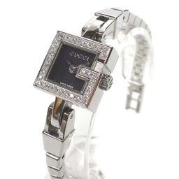 GUCCI グッチ Gミニダイヤベゼル YA102540 腕時計 ブラック文字盤 クオーツ シルバー レディース【中古】