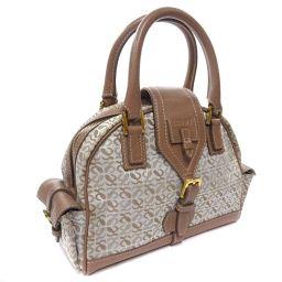 LOEWE Loewe Anagram Handbag Leather / Canvas Gray Ladies [Used]
