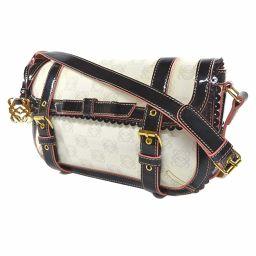 LOEWE Loewe Anagram Ribbon Shoulder Bag PVC / Patent Leather White Black Ladies [Used]