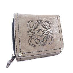 LOEWE Loewe Round Fastener Anagram Bi-fold Wallet Leather Brown Unisex [Used]