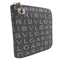 BVLGARI Bvlgari Logo Mania Round Zipper Bi-fold Wallet Canvas / Patent Leather Gray Black Unisex [Used]